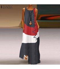 vestido largo sin mangas zanzea para mujer-gris