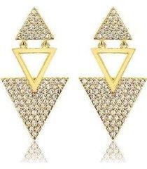 brinco lys lazuli triângulos cravejados banhado ouro 18k feminino - feminino