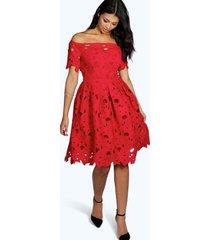 boutique kanten off shoulder skater jurk, rood