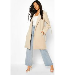 d-ring detail tailored wool look coat, stone
