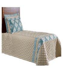 cobre leito hibiscus kit colcha solteiro 4 peças azul