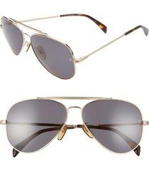 david beckham eyewear eyewear by david beckham db 1004/s 62mm oversize aviator sunglasses in gold/grey blue at nordstrom