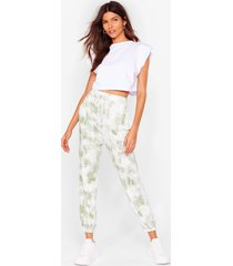 womens run with it high-waisted tie dye joggers - sage