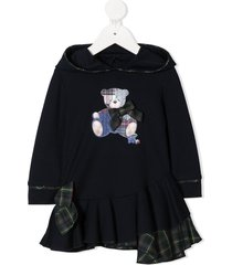 lapin house teddy bear embroidered dress - blue