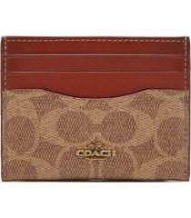 coach women's colorblock signature flat card case - tan rust