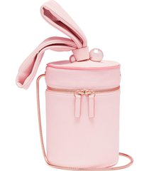 'bonnie' faux pearl leather crossbody bucket bag