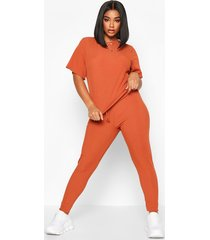 plus rib t-shirt + legging co-ord, rust