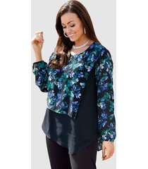 blouse m. collection zwart::blauw::groen