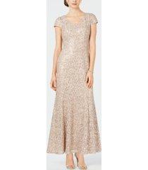 alex evenings petite lace cap-sleeve gown