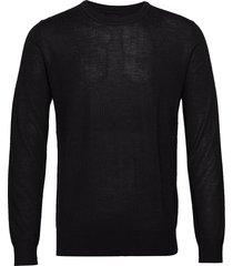 flemming crew neck 3111 stickad tröja m. rund krage svart samsøe samsøe