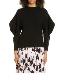 women's proenza schouler leg of mutton sleeve cashmere sweater, size x-large - black