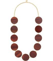 'naia' circle wood plate link necklace