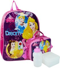 kit escolar princesas disney mochila + lancheira