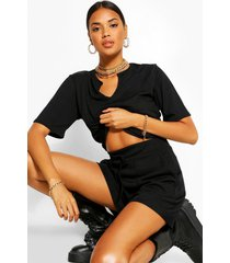 geribbelde t-shirt & shorts set, zwart