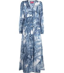 f.r.s for restless sleepers printed extra-long shirt - blue