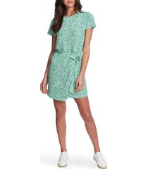 women's 1.state folk silhouette floral tie front dress, size x-small - green