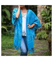 batik rayon shawl jacket, 'under the palms' (indonesia)