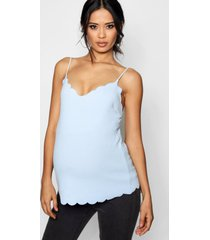 zwangerschap crêpe hemdje met geribbelde zoom, hemelsblauw