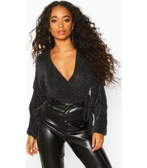 petite shimmer wrap ruffle sleeve top, silver