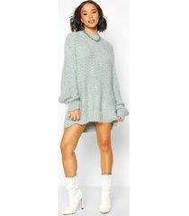 oversized premium boucle feather knit dress, turquoise