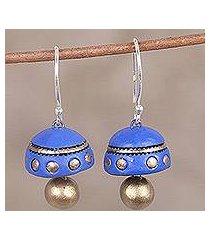 ceramic dangle earrings, 'dancing blue domes' (india)