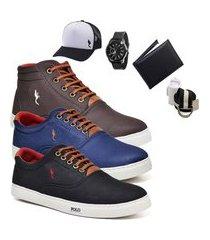 kit 3 pares sapatênis polo blu casual cano alto e cano baixo café/azul/preto acompanha carteira + relógio + cinto + meia + boné