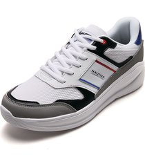 tenis lifestyle blanco-negro-gris nautica