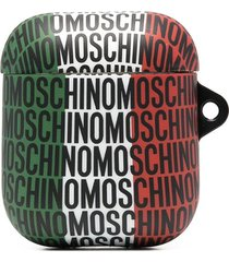 moschino all-over logo print airpods case - red