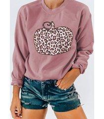 camicetta casual o-collo con stampa zucca leopardata