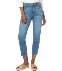 women's kut from the kloth naomi girlfriend ankle straight leg jeans, size 12 - blue