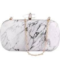 bolsa clutch liage efeito pedra marmore cristal strass metal alça alcinha dourada branca