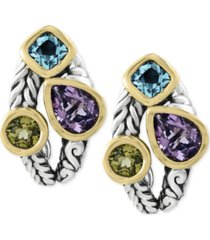 balissima by effy multi-gemstone deco-style stud earrings (5-1/10 ct. t.w.) in sterling silver and 18k gold