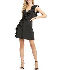 mac duggal women's diagonal ruffled cocktail dress - pink - size 2