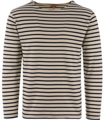armor lux long sleeve breton striped mariniere t-shirt - natural & navy 02297