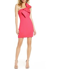 women's one33 social bow detail one shoulder cocktail dress, size 6 - pink