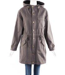 nsf clothing gray hooded drawstring coat gray sz: s