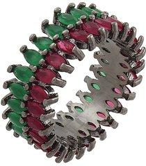 anel narcizza fileira dupla de navetes rubi e esmeralda banhada no rã³dio negro - grafite/rosa/verde - feminino - dafiti