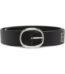 armani exchange embellished-logo pointed belt - black