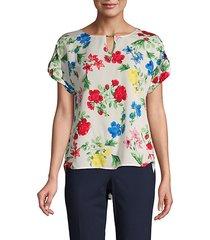 floral-print short-sleeve top