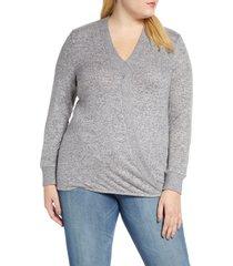 plus size women's bobeau mavis cozy cross front sweater, size 1x - blue