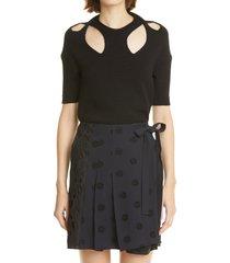 women's chloe cutout yoke short sleeve sweater, size medium - black