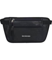 balenciaga weekend belt waist bag in black leather