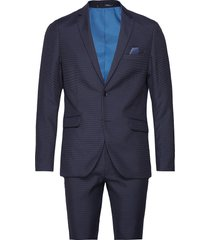 suit houndstooth weave kostym blå lindbergh