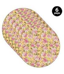 capa para sousplat mdecore floral amarelo 6pçs