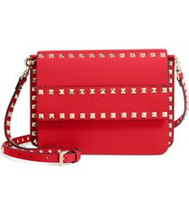 valentino garavani small rockstud calfskin leather shoulder bag - red