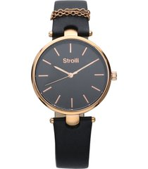 pigalle orologio in acciaio gold e cinturino nero con catenina con quadrante nero per donna