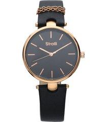 orologio cinturino pelle nero con catenina, cassa acciaio oro per donna