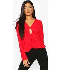 keyhole tie front blouse, red