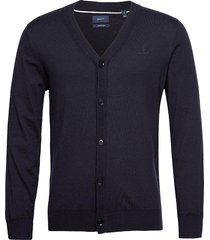 d1. cotton silk v-cardigan stickad tröja cardigan blå gant