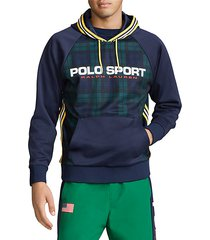 retro double knit mesh tartan hoodie